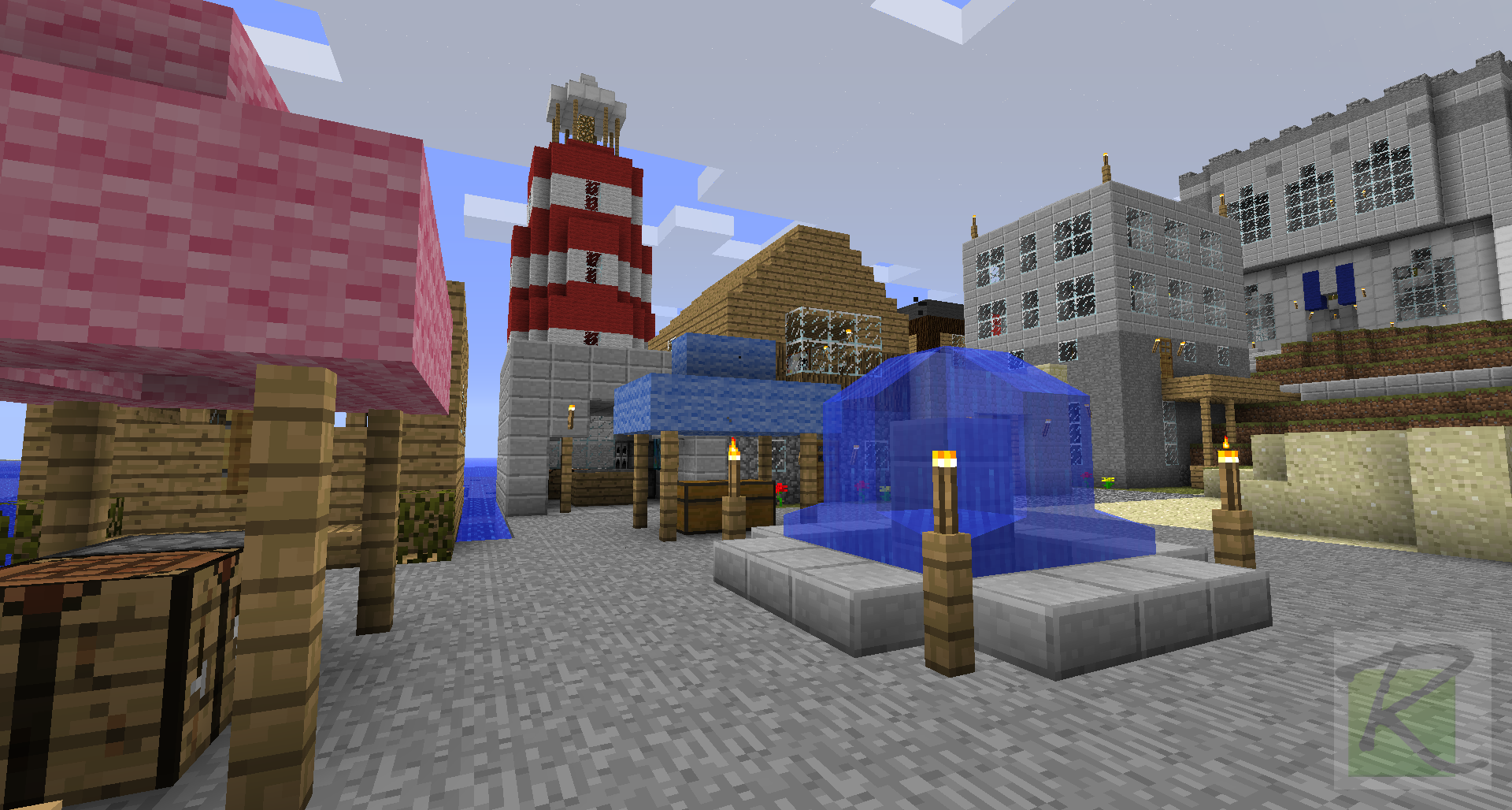 Town Square With Lighthouse And Temple In The Background Minecraft Screenshots A Visual Journal Of Minecraft Gameplay